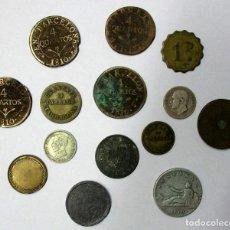 Monedas de España: CONJUNTO DE 14 MONEDAS ESPAÑOLAS ANTIGUAS Y FICHAS DINERARIAS DE DIVERSOS TIPOS. LOTE 3896. Lote 288866833