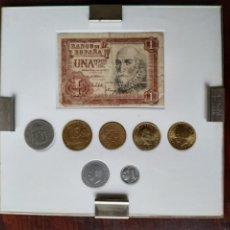 Monedas de España: COLECCIÓN ENMARCADA EVOLUCIÓN PESETA DEL PAPEL MONEDA HASTA EL ÚLTIMO MODELO DE PESETA ACUÑADA. Lote 288964623