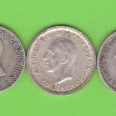 Monedas de España: MONEDAS - ALFONSO XII Y XIII - LOTE DE 5 MONEDAS DE 50 CÉNTIMOS, DIFERENTES (BC/MBC+). Lote 294055773