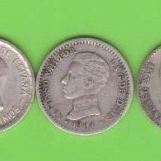 Monedas de España: MONEDAS - ALFONSO XII Y XIII - LOTE DE 5 MONEDAS DE 50 CÉNTIMOS, DIFERENTES (BC/MBC+). Lote 294058353
