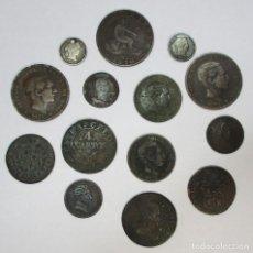 Monedas de España: CONJUNTO DE 14 MONEDAS ESPAÑOLAS ANTIGUAS EN PLATA Y COBRE. REYES BORBONES ESPAÑOLES. LOTE 3908. Lote 294934348