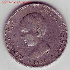 Monedas de España: ALFONSO XIII- 5 PESETAS- 1889*89-MPM. Lote 994930