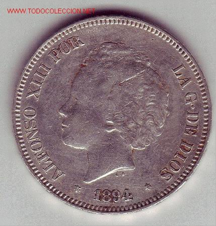 ALFONSO XIII- 5 PESETAS- 1894*18-94- PGV (Numismática - España Modernas y Contemporáneas - De Isabel II (1.834) a Alfonso XIII (1.931))