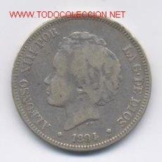 Monedas de España: ALFONSO XIII- 5 PESETAS- 1894*18-- PGV. Lote 921336