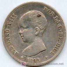 Monedas de España: INTERESANTISIMA Y MUY ESCASA MONEDA DE 2 PESETAS. ALFONSO XIII AÑO 1892. Lote 27613746