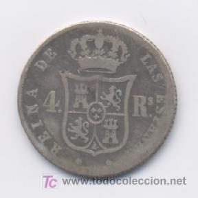 Monedas de España: ISABEL II- 4 REALES- 1853 - BARCELONA - Foto 2 - 6304214