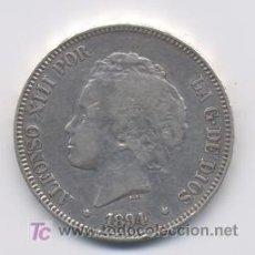 Monedas de España: ALFONSO XIII- 5 PESETAS- 1894*18-- PGV. Lote 6575338