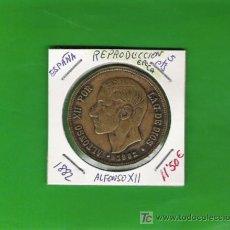 Monedas de España: ALFONSO XII 5 PESETA FALSO DE EPOCA DE BRONCE DE 1882 . Lote 7610875