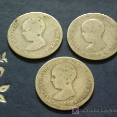 Monedas de España: **BONITAS, ---LOTE DE 3 PTAS DE PLATA (1891) ESTRELLAS NO LEGIBLES P.G. .M.¡¡EMPIEZA TU COLECCION!!. Lote 26837082