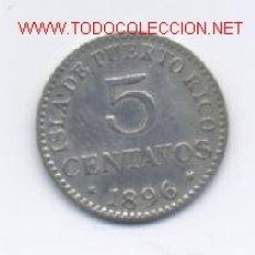 Monedas de España: 443- ALFONSO XIII- 5 CENTAVOS-1896- PUERTO RICO. Lote 2338336