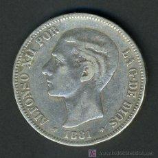 Monedas de España: MONEDA 5 PESETAS 1881 RARA , PLATA , NO SE LEEN LAS ESTRELLAS , MBC- M513. Lote 27051029