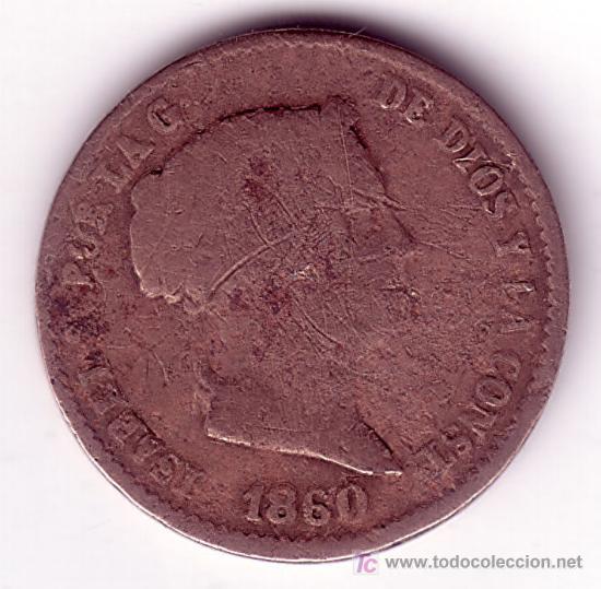 MONEDA DE 10 CENTIMOS DE REAL-ISABEL II-AÑO 1860 (Numismática - España Modernas y Contemporáneas - De Isabel II (1.834) a Alfonso XIII (1.931))