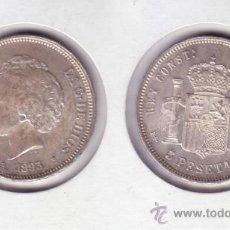 Monedas de España: 0213-ALFONSO XIII. 5 PESETAS. MADRID PGL. 1893 *18-93. PLATA. SC- (GUERRA 148). Lote 21407046
