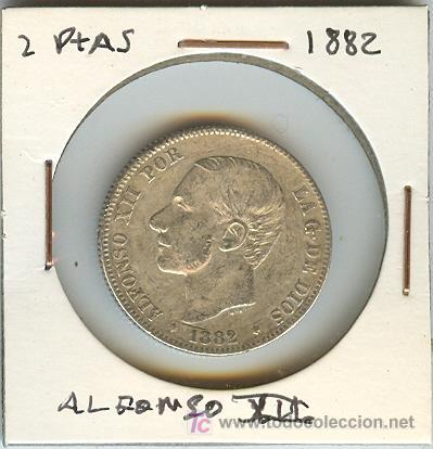 MONEDA DE DOS PESETAS. ALFONSO XII. 1882 (Numismática - España Modernas y Contemporáneas - De Isabel II (1.834) a Alfonso XIII (1.931))
