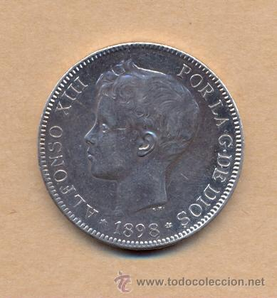 MONEDA 93 - CINCO PESETAS ALFONSO XIII 1898/98 MADRID S G V - 5 PTS A XIII 1898/98 EBC M SGV (Numismática - España Modernas y Contemporáneas - De Isabel II (1.834) a Alfonso XIII (1.931))