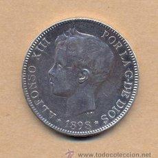 Monedas de España: MONEDA 93 - CINCO PESETAS ALFONSO XIII 1898/98 MADRID S G V - 5 PTS A XIII 1898/98 EBC M SGV. Lote 42903280