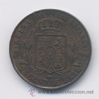 Monedas de España: ISABEL II- 25 CENTIMOS DE REAL- 1856- SEGOVIA - Foto 2 - 13045696