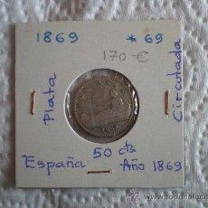 Monedas de España: 50 CENTIMOS AÑO 1869*69 PLATA. Lote 17573731