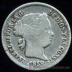 Monedas de España: ISABEL II : 1 REAL 1858 BARCELONA (PLATA). Lote 26923949