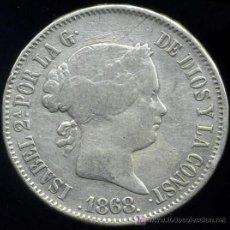 Monedas de España: ISABEL II : 50 CENTIMOS DE PESO 1868 FILIPINAS (PLATA). Lote 27265559