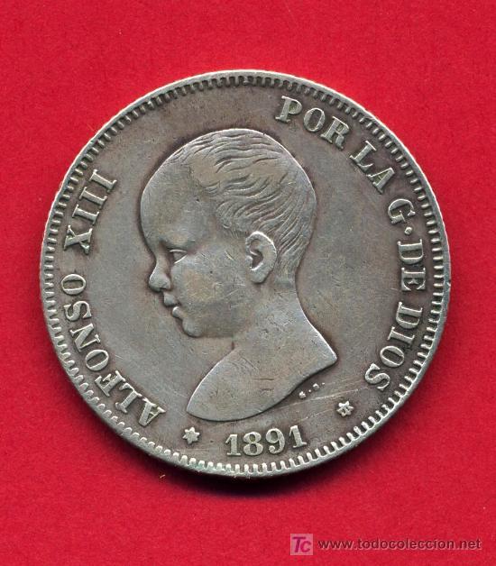 MONEDA 2 PESETAS 1891, MUY RARA , PLATA, MBC+ , M612B (Numismática - España Modernas y Contemporáneas - De Isabel II (1.834) a Alfonso XIII (1.931))