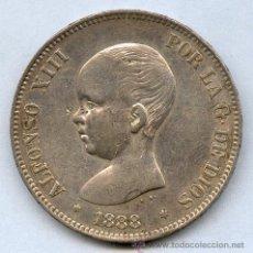 Monedas de España: EXQUISITA MONEDA DE PLATA. DE ALFONSO XIII. 5 PESETAS 1888*18*88. TIPO PELON. 25 GRAMOS DE PLATA. Lote 26651037