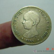 Monedas de España: 1585 ALFONSO XIII BONITA MONEDA DE UNA PESETA AÑO 1891 BC+ MAS EN MI TIENDA C&C. Lote 26806140