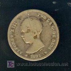 Monedas de España: 1 PESETA ALFONSO XIII ( PELON ) 1891. Lote 26701384