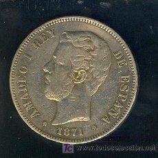 Monedas de España: 5 PESETAS PLATA 1871 REY AMADEO I. Lote 26701372