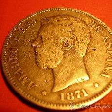 Monedas de España: MONEDA DE 5 PESETAS DE AMADEO I --- 1871. Lote 27046605