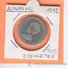 Monedas de España: RARA MONEDA ANTIGUA. DE PLATA.ALFONSO XIII. PELON. DOS PESETAS. 2 PESETAS. AÑO 1892. . Lote 25975350