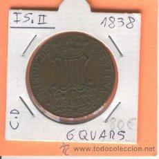 Monedas de España: MONEDA ANTIGUA ISABEL II 6 CUARTOS QUAR AÑO 1838 PRINCIPADO DE CATALUÑA QUARS CALIDAD. Lote 26566168