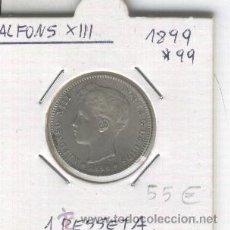 Monedas de España: MONEDA. ANTIGUA. PLATA.ALFONSO XIII. 1 PESETA. UNA.AÑO 1899. ESTRELLA * 99.MUY BONITA. . Lote 26030623