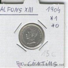 Monedas de España: MONEDA.ANTIGUA.PLATA.ESPAÑA.ALFONSO XIII.AÑO 1904. ESTRELLAS.*1*0. 50 CENTIMOS. . Lote 26833891