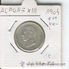 Monedas de España: MONEDA. ANTIGUA. ESPAÑA. PLATA. ALFONSO XIII.AÑO 1904. CON ESTRELLAS. * 19* 0-. 1 PESETA. UNA. . Lote 26210604