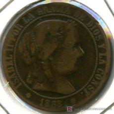 Monedas de España: 2 1/2 CENTIMOS DE ESCUDO DE ISABEL II, 1868 BARCELONA.. Lote 27116312