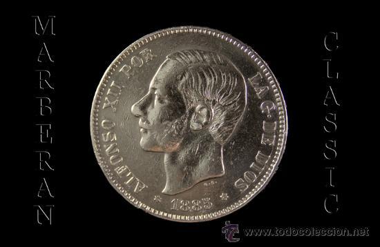 MONEDA 5 PESETAS DE PLATA DE ALFONSO XII MADRID 1885 * 18-87 (Numismática - España Modernas y Contemporáneas - De Isabel II (1.834) a Alfonso XIII (1.931))