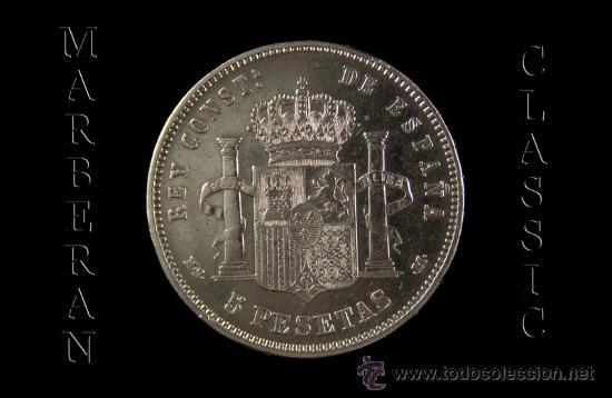 Monedas de España: MONEDA 5 PESETAS DE PLATA DE ALFONSO XII MADRID 1885 * 18-87 - Foto 2 - 26833642