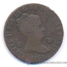 Monedas de España: ¡¡OJO!! : ISABEL II 8 MARAVEDIS 1858 BA (BARCELONA) MUY ESCASA. Lote 27621532
