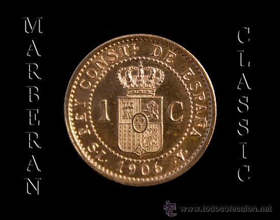 Monedas de España: MONEDA 1 CENTIMO DE COBRE DE ALFONSO XIII 1906 * 6 - Foto 2 - 27177712