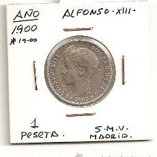 Monedas de España: MUY ESCASA MONEDA DE PLATA - 1 PTS ALFONSO XIII 1900 (*19-00) M. SMV.(ESTRELLAS CASI LEGIBLES). MBC. Lote 95611070