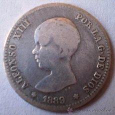 Monedas de España: ALFONSO XIII 1 PESETA 1889 ESTRELLAS NO VISIBLES RARA VER FOTOS. Lote 20091073