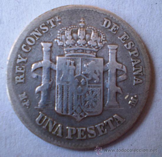 Monedas de España: Alfonso XIII 1 Peseta 1889 Estrellas no Visibles Rara Ver Fotos - Foto 2 - 20091073