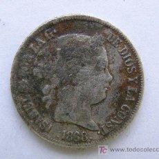 Monedas de España: ISABEL II. FILIPINAS.20 CENTAVOS DE PESO.1868.PLATA. Lote 26317558