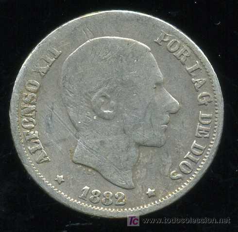 ALFONSO XII - FILIPINAS : 10 CENTAVOS DE PESO 1882 (PLATA) (Numismática - España Modernas y Contemporáneas - De Isabel II (1.834) a Alfonso XIII (1.931))