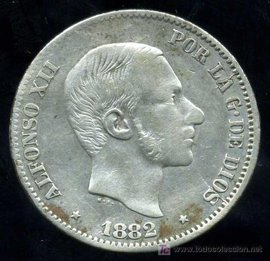 ALFONSO XII - FILIPINAS : 50 CENTAVOS DE PESO 1882 (PLATA) (Numismática - España Modernas y Contemporáneas - De Isabel II (1.834) a Alfonso XIII (1.931))