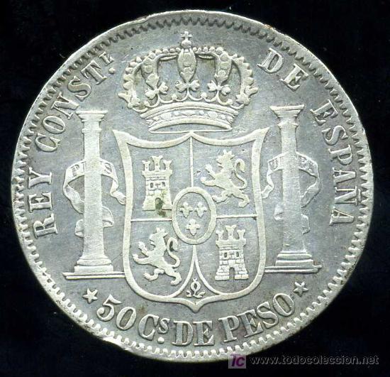 Monedas de España: ALFONSO XII - FILIPINAS : 50 Centavos de Peso 1882 (Plata) - Foto 2 - 20915558