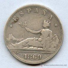 Monedas de España: 2 PESETAS DE PLATA AÑO 1869 GOBIERNO PROVISIONAL. Lote 26624545