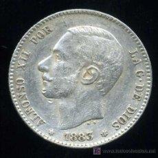 Monedas de España: ALFONSO XII : 1 PESETA 1883 *83 M.S.M. (PLATA). Lote 26768616