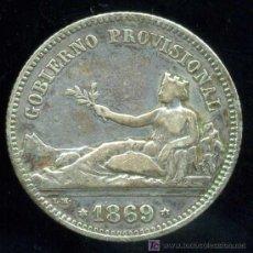 Monedas de España: I REPUBLICA : 1 PESETA GOBIERNO PROVISIONAL 1869 S.N.M. (PLATA). Lote 21058200